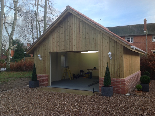 New build garage ready for new Sectional door by LGDS Ltd