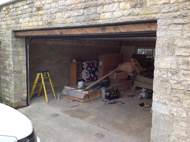 Carteck sectional door installation in stone garage by LGDS Ltd