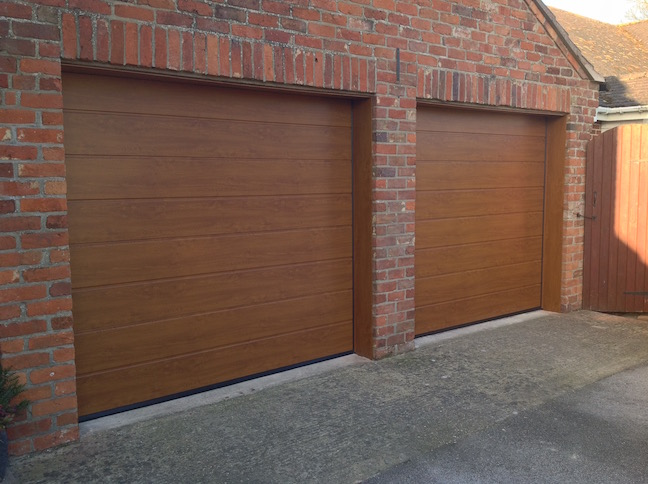 2 x Hormann Sectional doors in Golden Oak