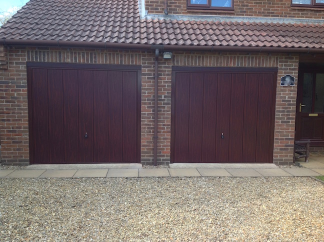 2 Hörmann Decograin doors in Rosewood
