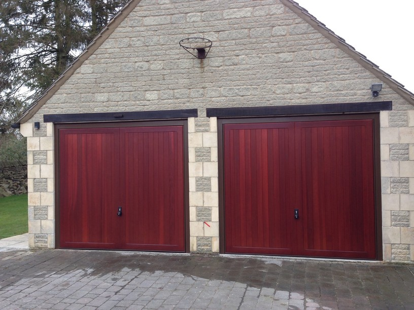 2 Hormann Caxton Doors in Mahogany by Lincs Garage Door Services Ltd