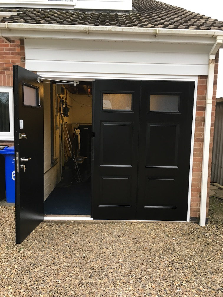 BGID York design Door in Black leading door open