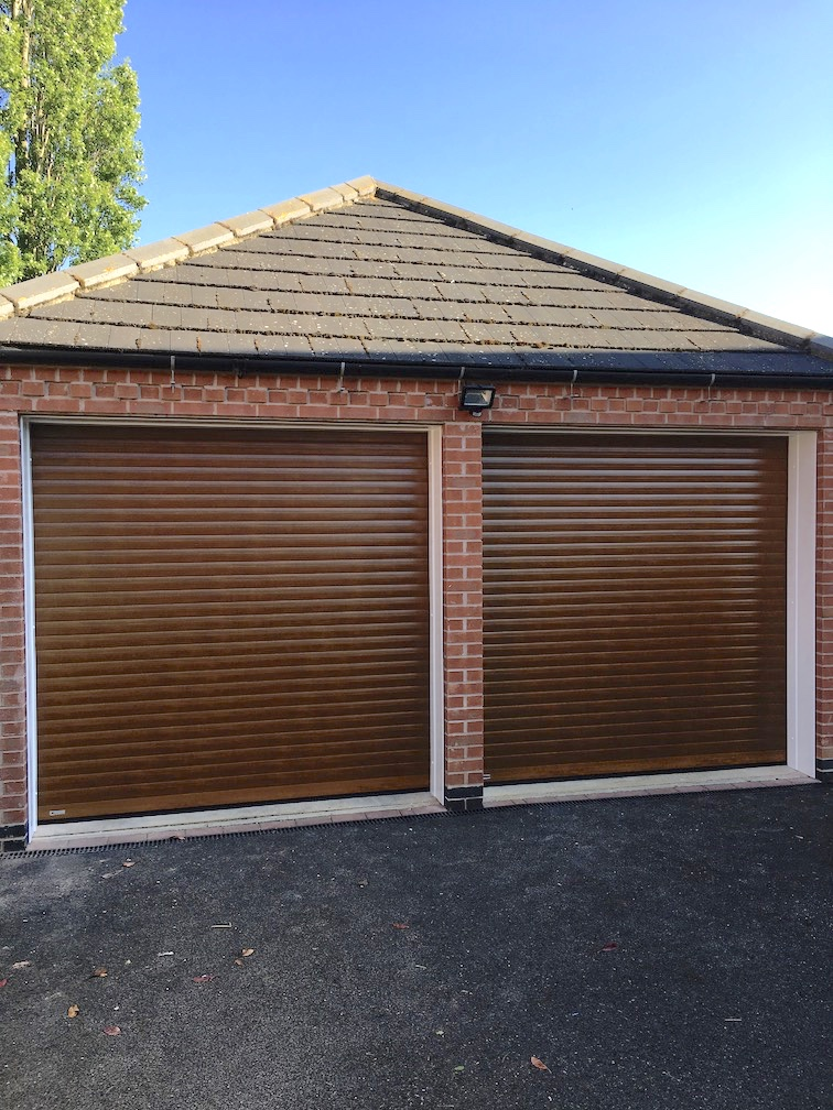 SeceuroGlide Classic roller shutters in Painted wooden effect English Oak