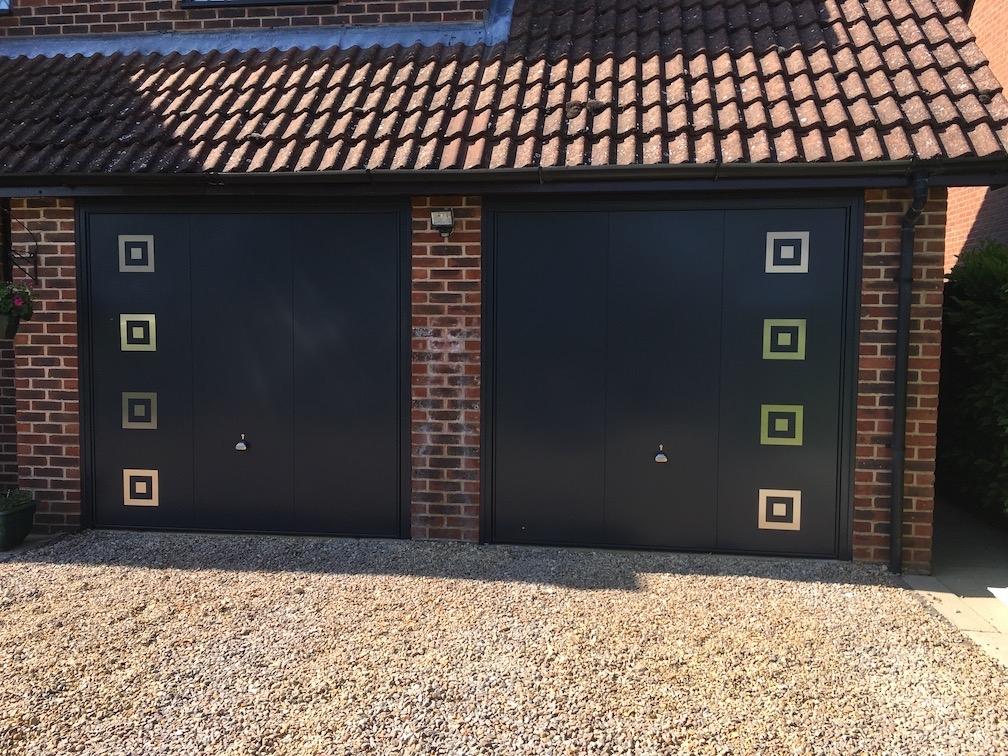 2 Garador 203 design canopy doors in Anthracite