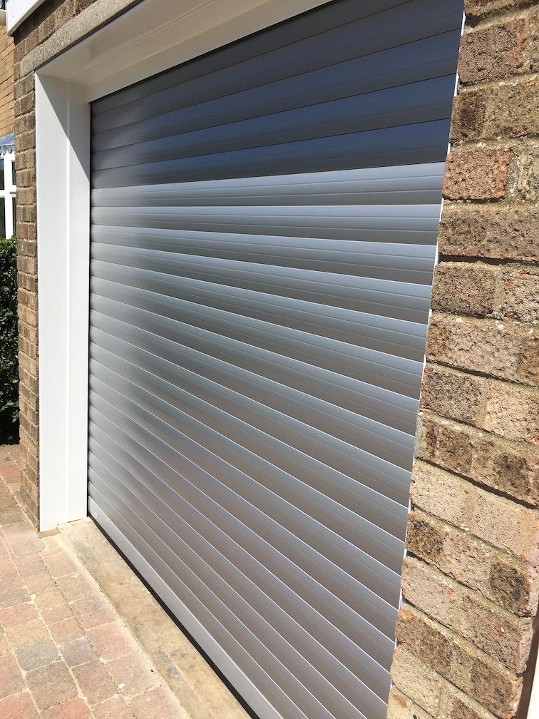SecueuroGlide Classic roller shutter door in Silver Metallic