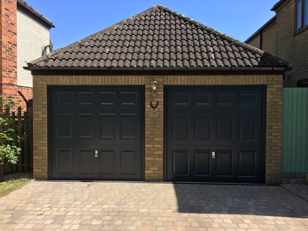 2 Garador Beaumont doors in Anthracite including Brushed stainless steel handle