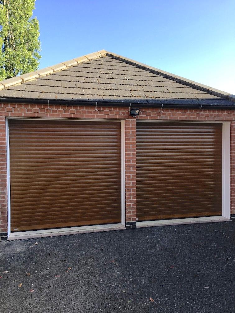 SeceuroGlide Classic roller shutters in Painted wooden effect English Oak